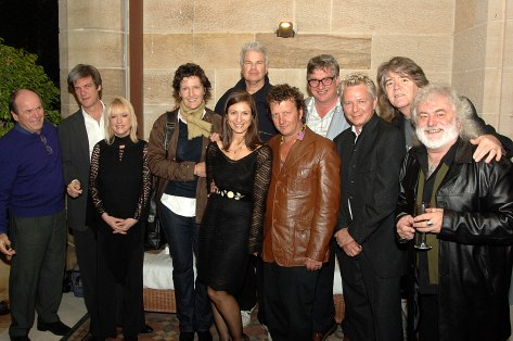Standing with songwriting greats at the book's launch at the home of Glenn and Jo Shorrock in Sydney. L-R: Glenn Shorrock, Don Walker, Sharon O'Neill, Johanna Pigott, Author, Todd Hunter, Martin Plaza, Greedy Smith, Iva Davies, Jim Keays, Brian Cadd.