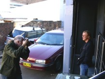 Bob King taking the portrait of Harry Vanda